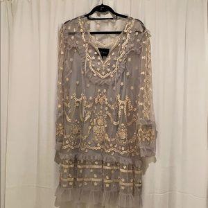 Needle & Thread Light Blue and Cream Dress